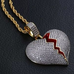 Broken heart piece and chain